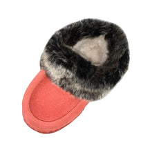 Children's Faux Fur Trim Coral Suede Moccasins