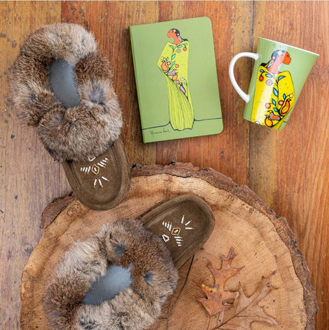 Women's Moccasin Slipper with Rabbit Fur Gift Pak - GP14