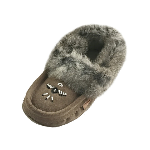 Women's Fleece Lined Gray Suede Moccasins With Rabbit Fur 660