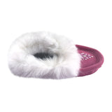 Junior Fuchsia Suede Fleece Lined Beaded Moccasins With Rabbit Fur 698J