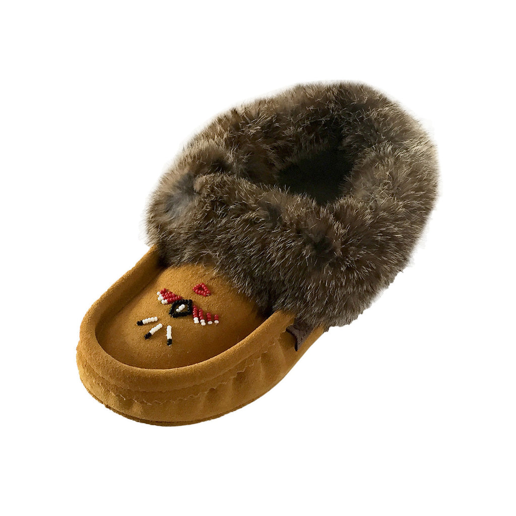 Womens Hand Beaded Moccasin Slippers With Real Fuzzy