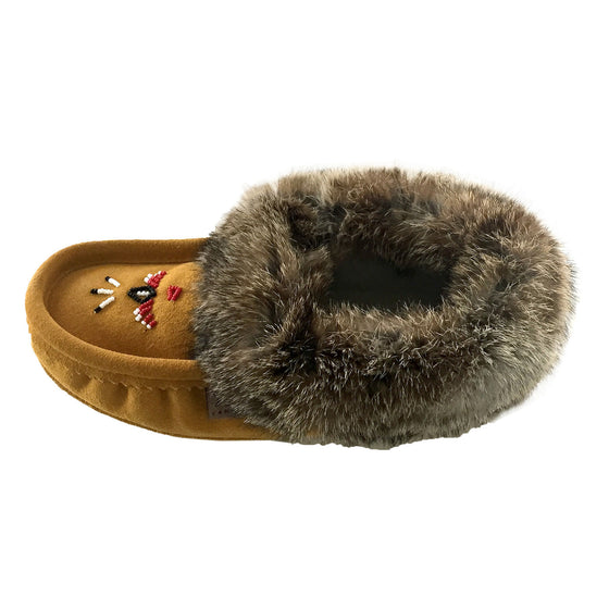 Women's Rabbit Fur Thunderbird Beaded Moccasins