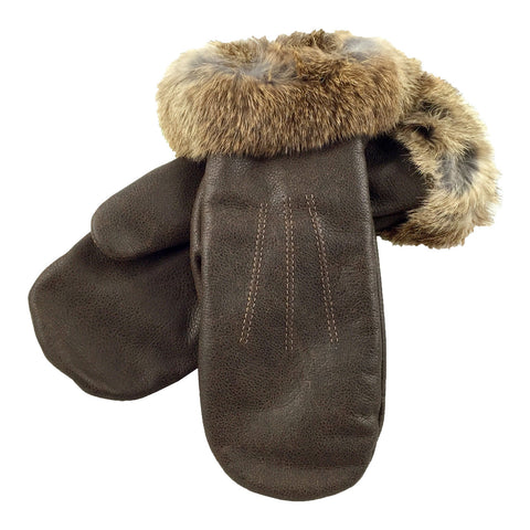 Women's Leather Mittens with Rabbit Fur Trim - K275