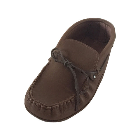 Men's Heavy Oil Tan Leather Moccasins 9018, size 14 left only