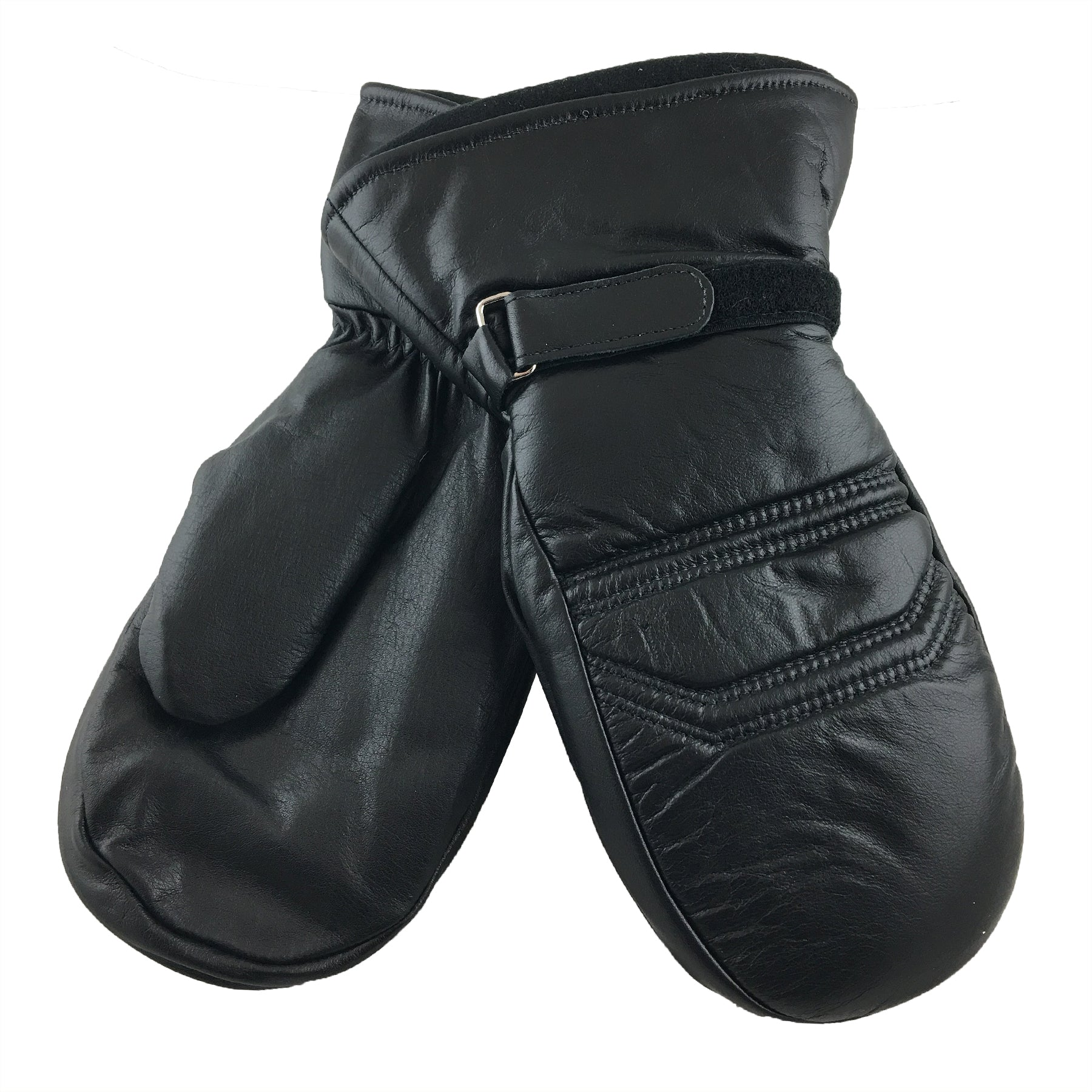 884fd222729ef Mens Long Black Leather Mittens with Removable Thinsulate Lining ...
