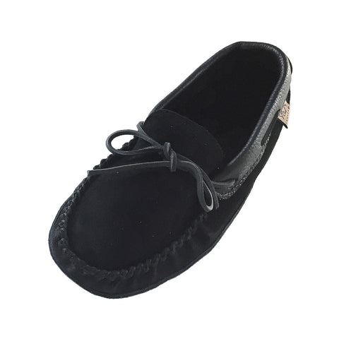 Men's Soft Sole Black Suede Moccasins with Leather Trim 78BK