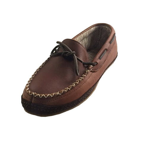 Men's Gum-Sole Dark Brown Leather Moccasins - 1769 (SIZE 14 ONLY)