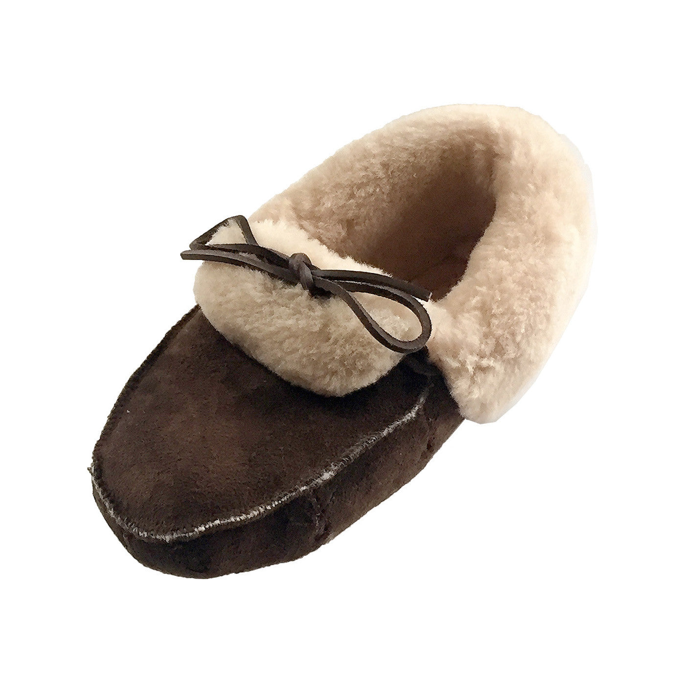 ebf3c8036b6 Men s Dark Brown Suede Real Sheepskin Lined Indoor Moccasin Slippers ...