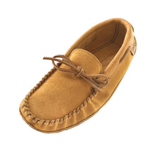 Men's Soft Sole Dark Tan Suede Leather Trim Moccasins