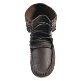 Men's Cork Brown Leather Moccasin Boots 137597M-FD