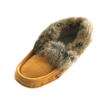 Men's Fleece Lined Suede Moccasins With Rabbit Fur