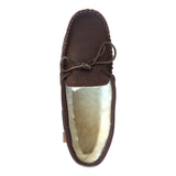 Men's Sheepskin Lined Dark Brown Moccasin Slippers - KB757M