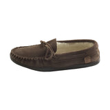 Men's Sheepskin Lined Suede Moccasin with Rubber Sole KB805