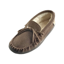 Men's Sheepskin Lined Suede Rubber Sole Moccasins