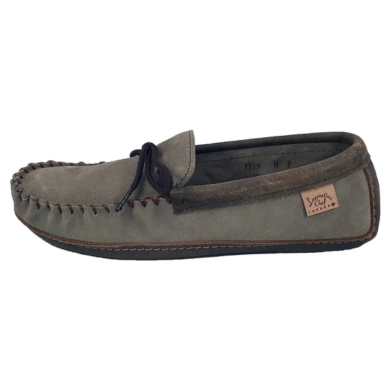 Men's Memory Foam Grey Suede Moccasins