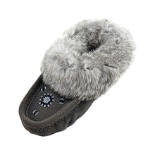 Junior Clearance Grey Suede Rabbit Fur Moccasins (Size Youth 3 ONLY)