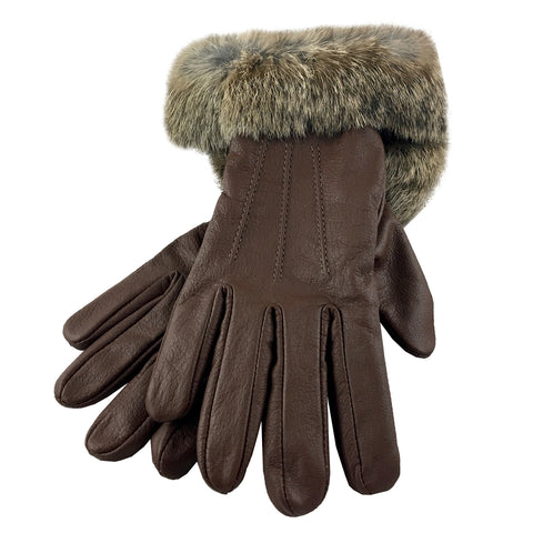 Women's Brown Leather Gloves with Rabbit Fur K-111BR