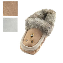 Women's Rabbit Fur Sheepskin Lined Suede Moccasins