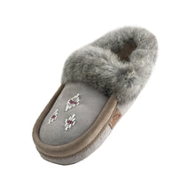Women's Sheepskin Lined Suede Rabbit Fur Moccasins