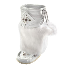 Women's Mid Calf White Rabbit Fur Mukluks