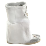 Women's Mid Calf White Rabbit Fur Mukluks 986447