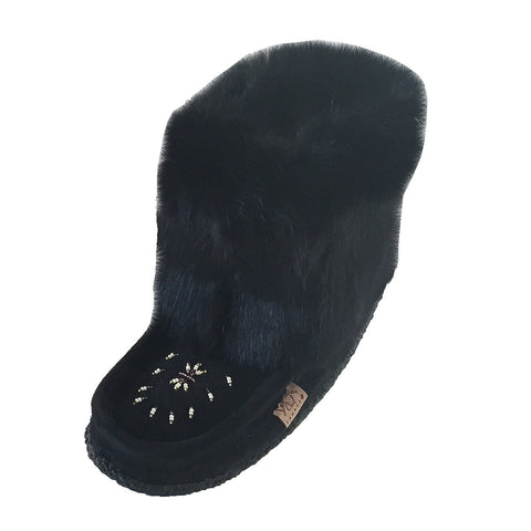 Women's Short Black Rabbit Fur Mukluks 552447B