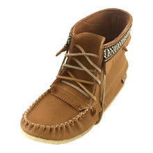 Women's Cork Brown Leather Moccasin Boots