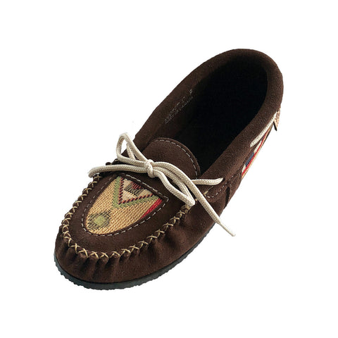 Women's Crepe Sole Brown Native Appliqué Moccasins 500941CHO