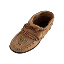 Women's Rubber Sole Moose Hide Leather Fringed Moccasins