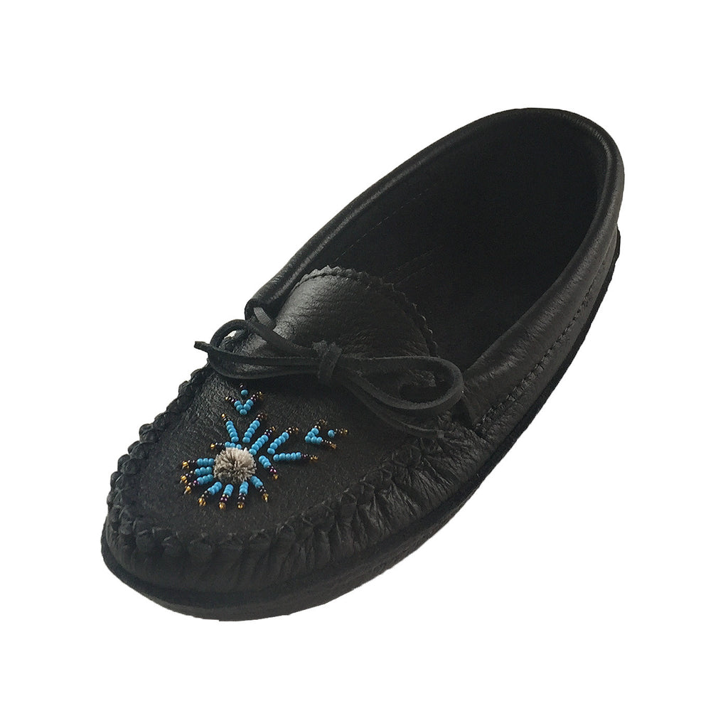 Women's Soft Sole Moosehide Black Leather Moccasins 4890-8