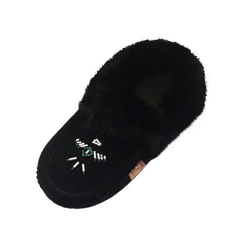 Women's Fleece Lined Black Suede Moccasins With Rabbit Fur 653L