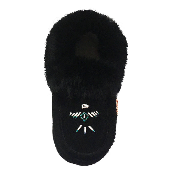 Women's Fleece Lined Rabbit Fur Black Suede Moccasins
