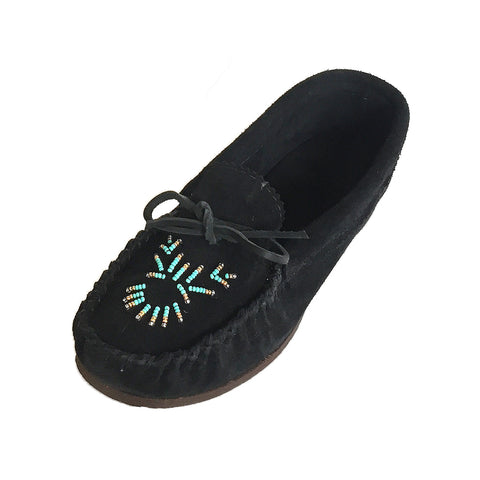 Women's Rubber Sole Black Beaded Moccasins X22836