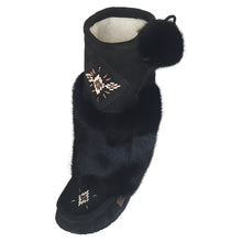 Women's Mid-Calf Black Rabbit Fur Mukluks