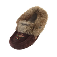 Women's Fleece Lined Rabbit Fur Choco Suede Moccasins