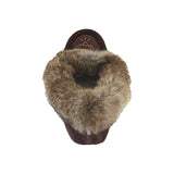 Women's Fleece Lined Choco Suede Moccasins With Rabbit Fur - 673