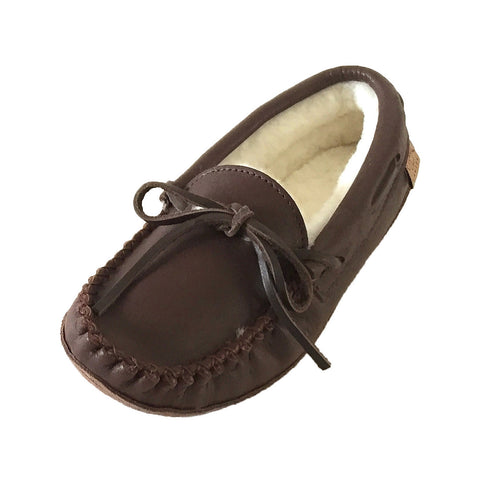 Women's Sheepskin Lined Dark Brown Moccasins KB757L