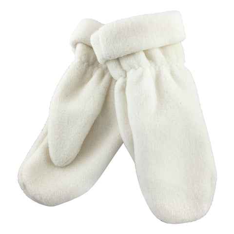 Women's White Polar Fleece Mittens K-246IV