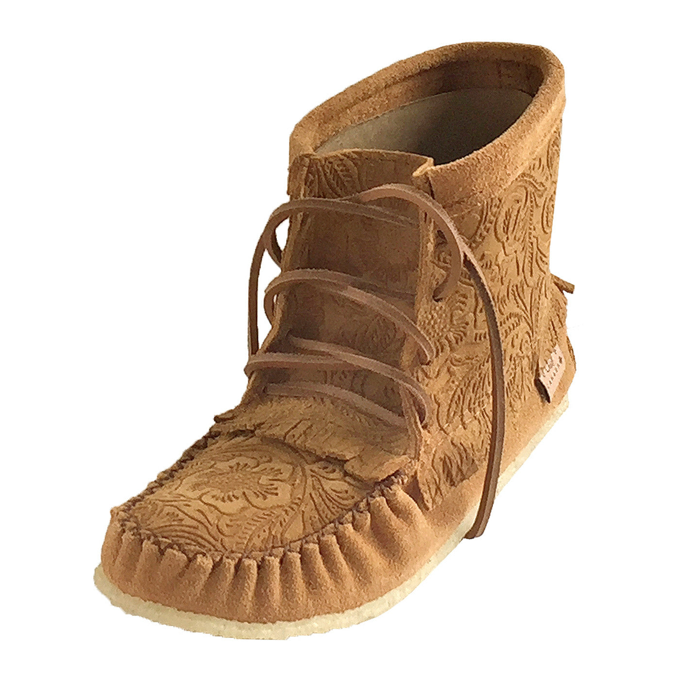 03951fcf6efb Women s Floral Embossed Genuine Suede Dark Tan Ankle Moccasin Boots ...