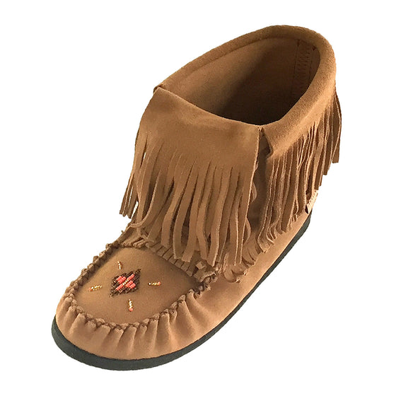 Women's Moka Suede Fringed Moccasin Boots