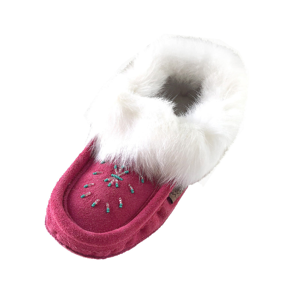 Women's Fleece Lined Fuchsia Suede Moccasins With Rabbit Fur 698