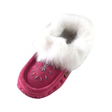 Women's Fleece Lined Rabbit Fur Fuchsia Suede Moccasins