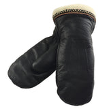 Women's Sheepskin Mittens Black Leather K231L