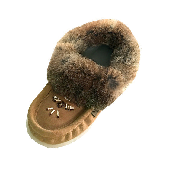 Women's Fleece Lined Rabbit Fur Rubber Sole Suede Moccasins