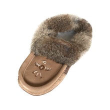Women's Fleece Lined Rabbit Fur Moka Suede Moccasins
