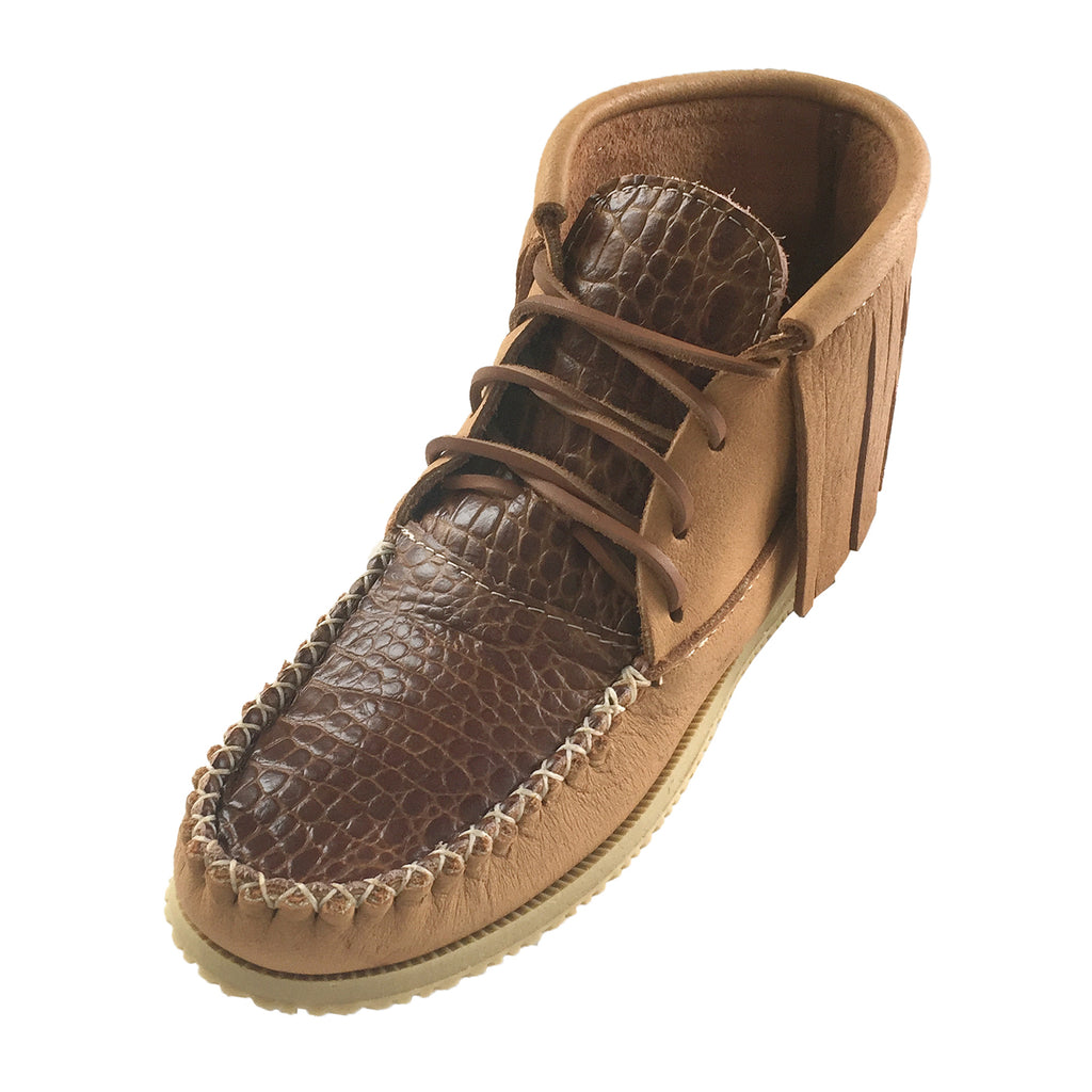 Women's Faux Crocodile Fringe Ankle Moccasin Boots