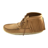 Women's Fringed Crepe Sole Moosehide Moccasin Boots B04219F