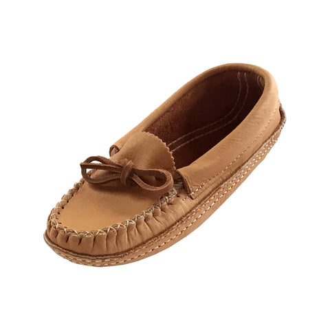 Women's Soft-Sole Moosehide Leather Moccasin Slippers - B489W