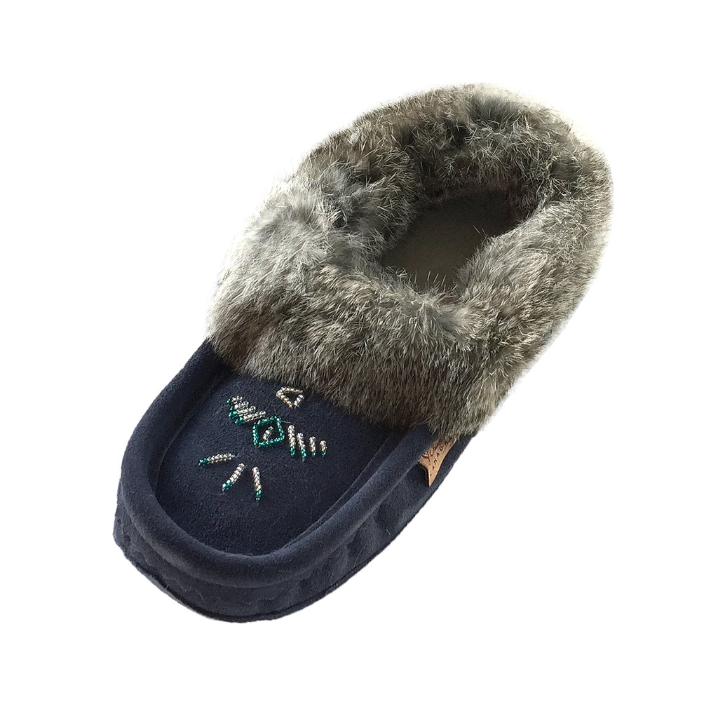 Women's Fleece Lined Navy Suede Moccasins With Rabbit Fur 658