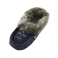Women's Rabbit Fur Thunderbird Beaded Navy Moccasins
